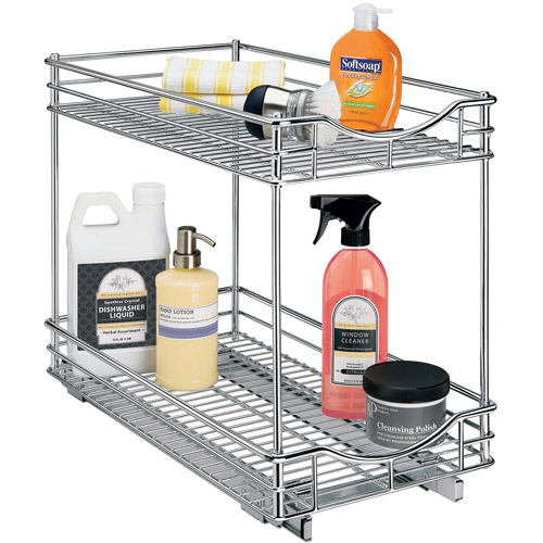 "Lynk Professional Slide Out Double Shelf, Pull Out Two Tier Sliding Under Cabinet Organizer, 11""W x 21""D, Chrome"