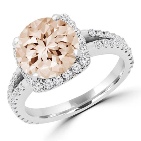 Majesty Diamonds MD180259-4.25 3.2 CTW Round Pink Morganite Halo Cocktail Ring in 10K White Gold - Size 4.25 - image 1 of 1