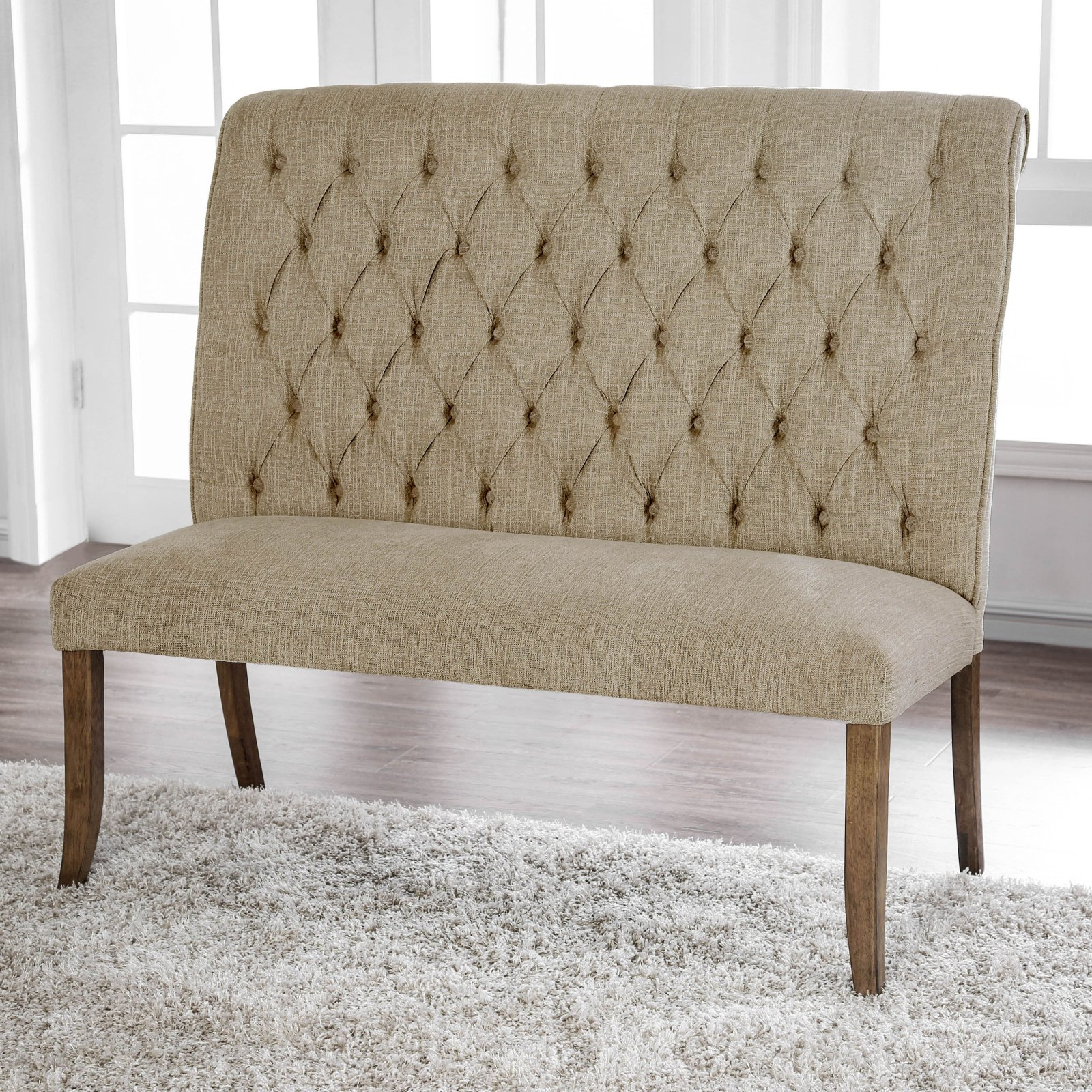 Furniture of America Harrington Scroll Back Button Tufted Dining Bench