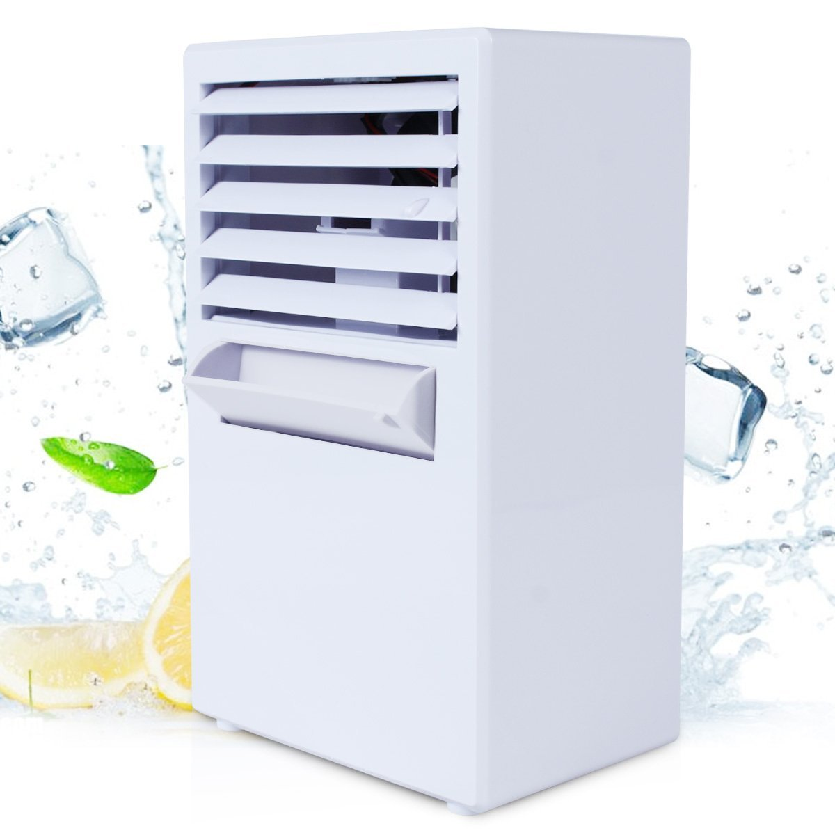 Mini Portable Air Conditioner Fan, 9.5 Inch Small Desktop Fan Quiet  Personal Misting Table