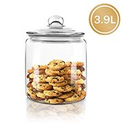 Airtight Glass Jar,Cookie Candy Penny Jar with Leak Proof Rubber Gasket Lid,1 Gallon Clear Round Big Household Multifunctional Storage Container for Preserving Dry Food, Cookies, Candies and More