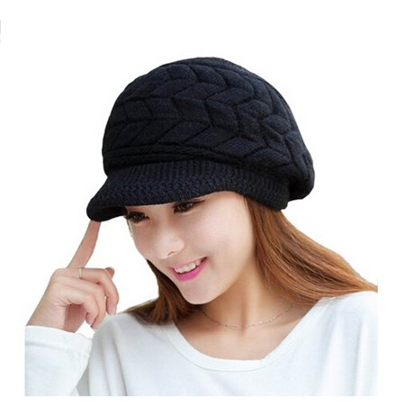 Pixnor - Women Winter Warm Knit Hat Wool Snow Ski Cap With Visor (Black) -  Walmart.com ccc5fc0e4fb
