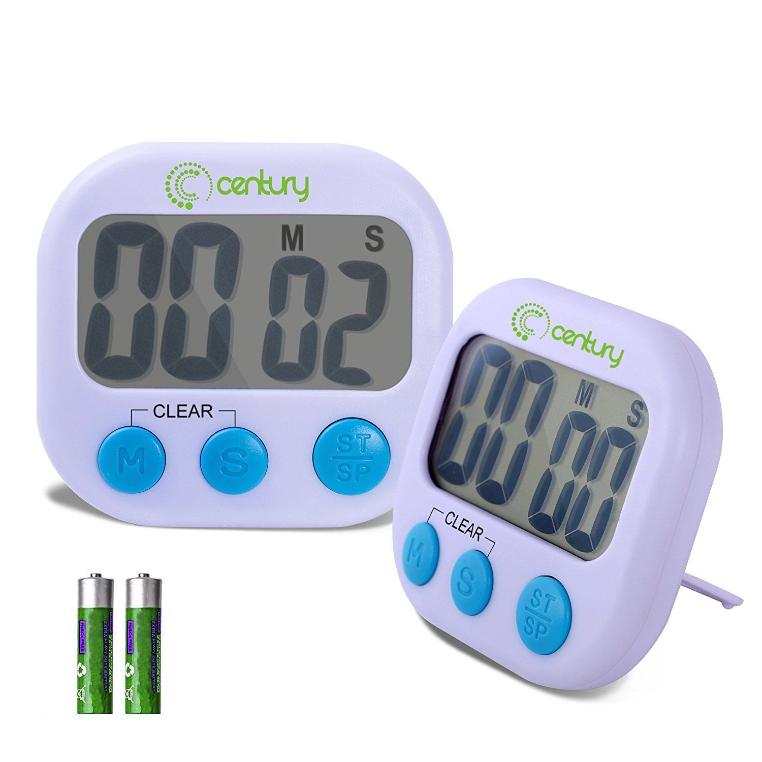 Century Digital Kitchen Timer, Big Screen, Loud Alarm, Magnetic Backing, 2 pack