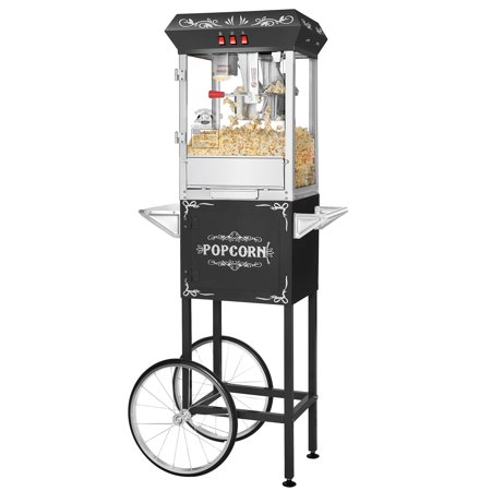 Superior Popcorn Black Movie Night Popcorn Popper Machine Cart  8 Ounce