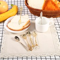 Ccdes 6Pcs/Set Vintage Royal Style Metal Mini Coffee Spoons and Fork Kitchen Fruit Coffee Accessories, Spoons fork kit, Vintage Dinnerware