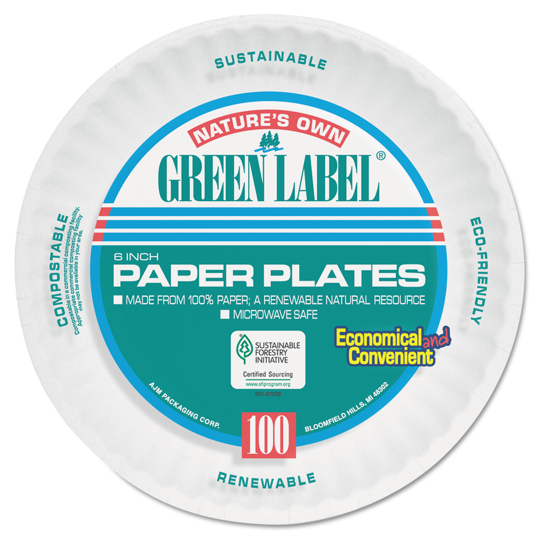 AJM Packaging Corporation Uncoated Paper Plates, 6 Inches, White, Round, 1000/Carton