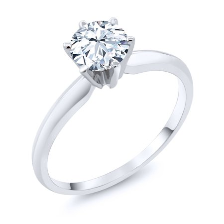 1.20 Ct  Hearts and Arrows White Created Sapphire 14K White Gold Engagement Solitaire Ring
