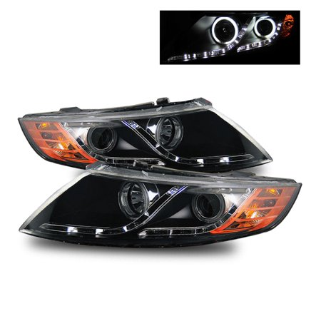 Black Projector - For 11-13 Optima (Halogen Type) CCFL Halo LED Strip Projector Headlights Black