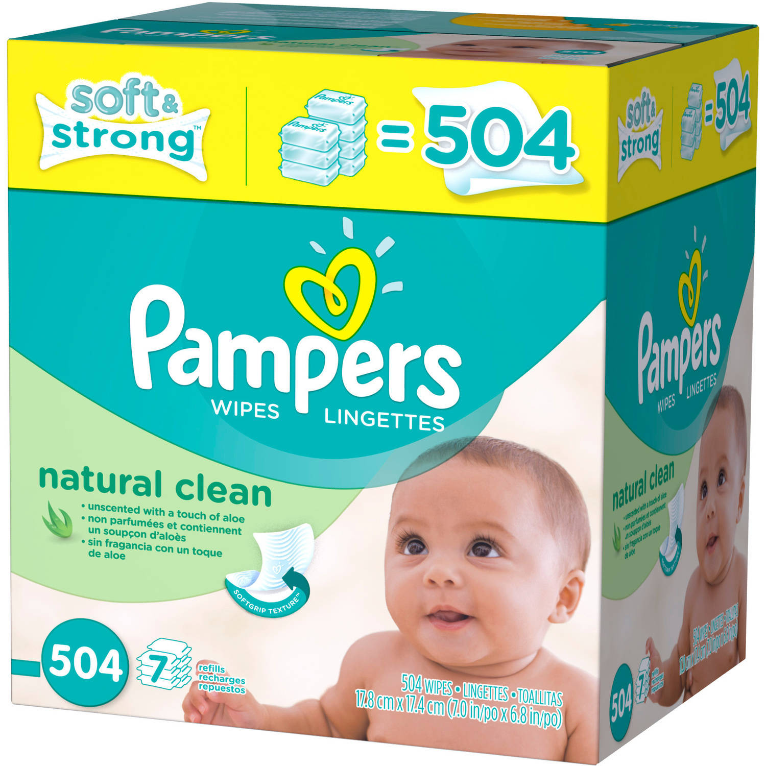Pampers Natural Clean Baby Wipes Refills, 504 sheets