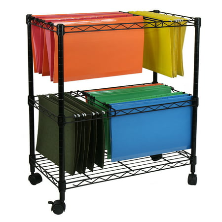- Oceanstar Portable 2-Tier Metal Rolling File Cart, Black
