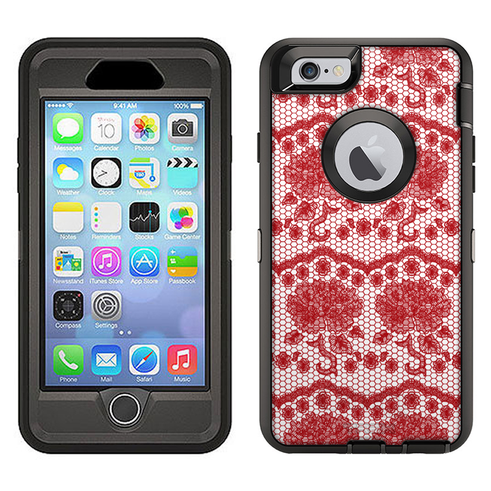 SKIN DECAL FOR Otterbox Defender Apple iPhone 6 Plus Case - Darling Rose Lace in Hot Red DECAL, NOT A CASE