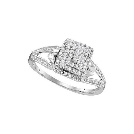 10kt White Gold Womens Round Diamond Cluster Split-shank Ring 1/5 Cttw - image 1 de 1