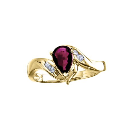 14k Yellow Gold Pear Ruby And Diamond Swirl Ring