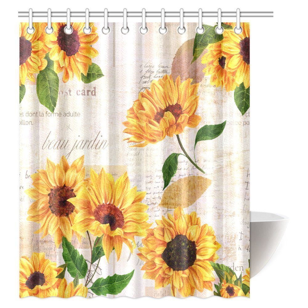MYPOP Vintage Style Floral Shower Curtain, Vibrant Yellow Watercolor Sunflowers on the Background of Old Letters and Newspaper Bathroom Shower Curtain Set with Hooks, 60 By 72 Inches Long