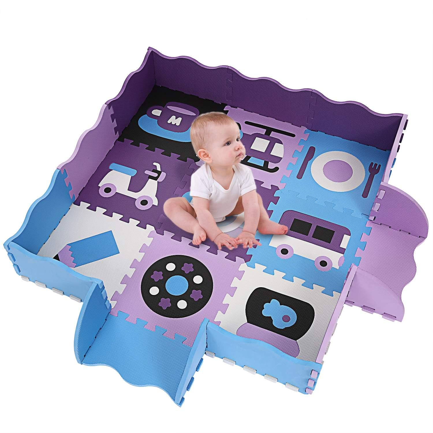 New Kids Baby Non-Toxic Extra Thick Foam Large with Gate Fence Crawling Play Mat