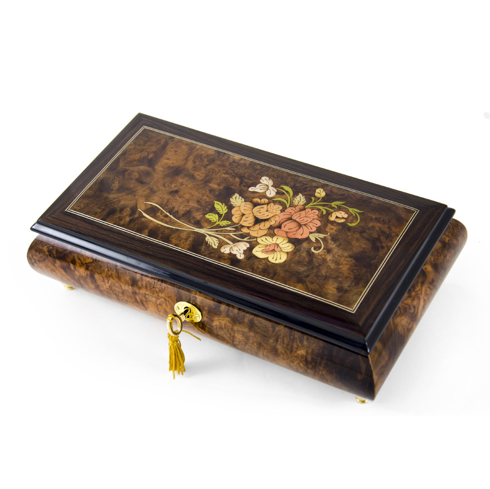 Gentle 30 Note Roses with Rosewood Frame Musical Jewelry Box - Danny Boy