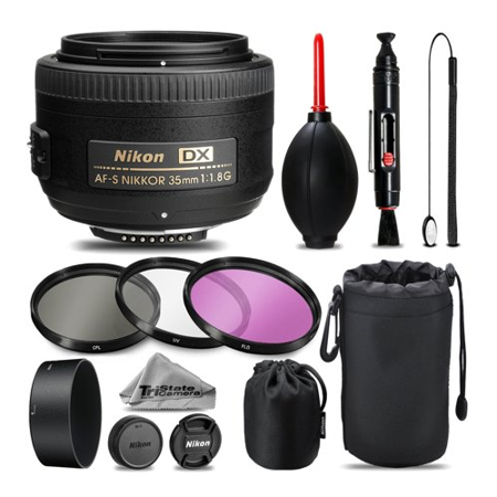Nikon AF-S DX NIKKOR 35mm f/1.8G Lens For D3000, D3100, D3200, D3300, D5000, D5100, D5200, D5300, D5500, D7000, D7100 Nikon Digital SLR. All Original Accessories Included - International (Best Lens For Nikon D3100 For Landscape)