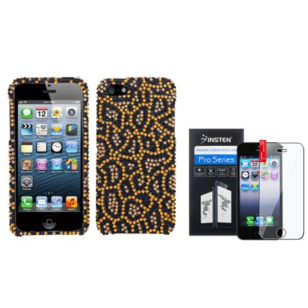 Jeweled Bling Case - Insten Jeweled Jaguar Diamond Case Bling Hard Cover For iPhone 5 5s+LCD Shield