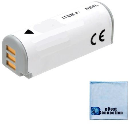 NB-9L Battery for Canon PowerShot N, SD4500 IS, Canon ELPH 520 HS, ELPH 510 HS, ELPH 530 HS, Canon IXUS 1000 HS, IXY 50S Camera + eCostConnection Microfiber