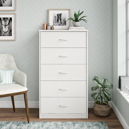 Mainstays Classic 5 Drawer Dresser, White Finish Brown Five Drawer Chest