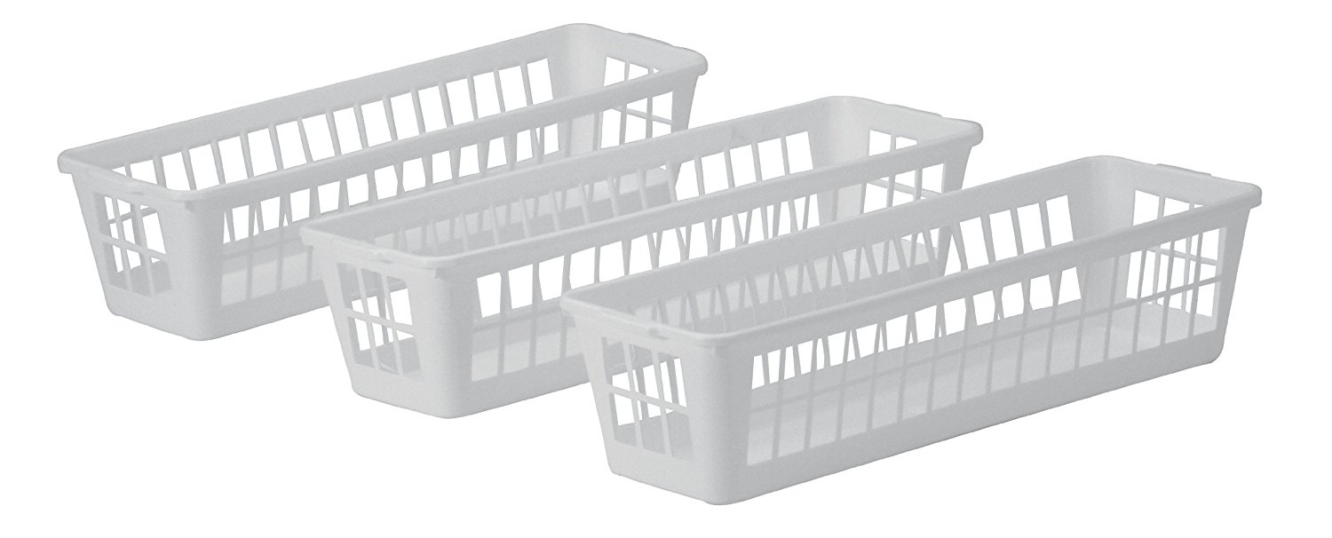 Bs0003 Slim Plastic Storage Baskets In White Set Of 3 Xsmall Pack Ship From Usa Brand United Solutions