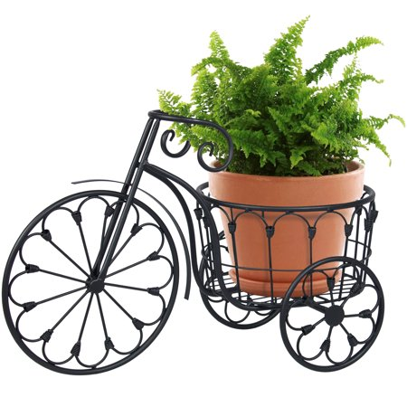 Best Choice Products Outdoor 3-Wheel Wrought Iron Mini Garden Tricycle Plant Stand for Patio, Porch, Garden, and Backyard, Black