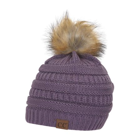Gravity Threads CC Cable Knit Faux Fur Pom Pom Beanie Hat - Walmart.com bb17e9c9f92