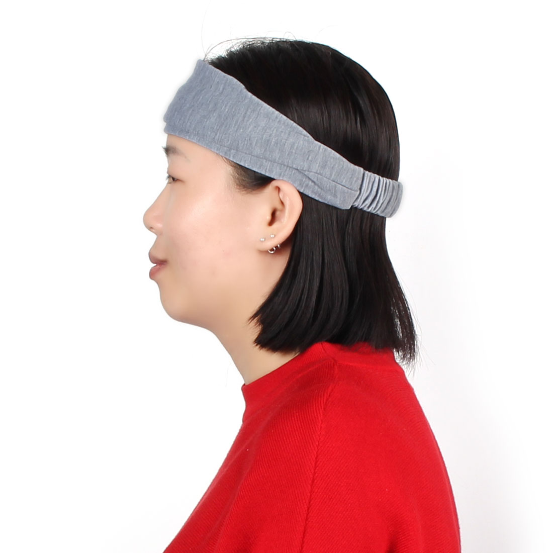 Outdoor Running Sports Cotton Blends Elastic Headwraps Headband Hair Band Gray - image 4 de 5