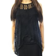 Painted Threads NEW Black Womens Size Large L Lace High-Low Tank Blouse