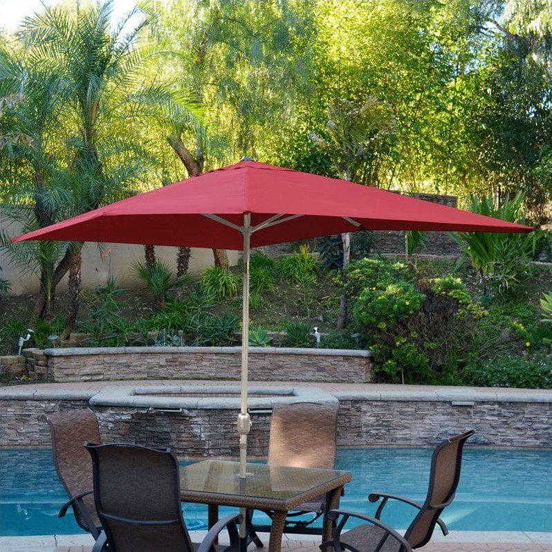Jeco 6.5' x 10' Aluminum Patio Market Umbrella Tilt with Crank in Red Fabric Grey Pole