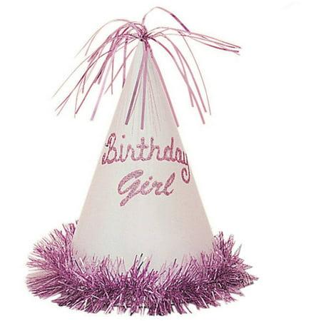 Glitter Fringe Birthday Girl Party Hat