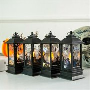 For Halloween Vintage Lantern Party Hanging Decor LED Light Lamp Portable Nightlight(B- Pumpkin)