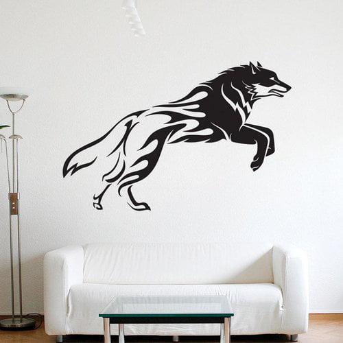 Ebern Designs Collado Flaming Wolf Wall Decal