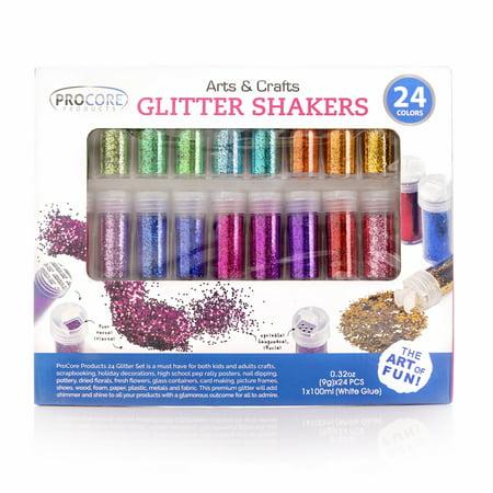 Colored Jars - Glitter Shaker 24 Multi Colored Jar Set, Extra Fine For Scrapbooking, Gel Nails, Making Slime, Greeting Cards, Great For Holiday Decorations, Bonus Craft Glue Bottle ?