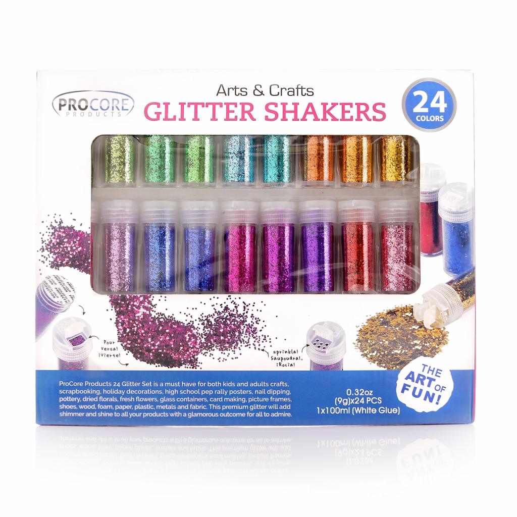 Glitter Shaker 24 Multi Colored Jar Set, Extra Fine For Scrapbooking, Gel Nails, Making Slime, Greeting Cards, Great For Holiday Decorations, Bonus Craft Glue Bottle ?