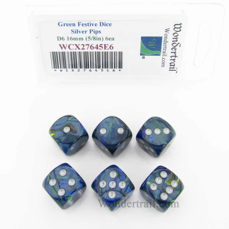 Green Festive Dice with Silver Pips 16mm (5/8in) D6 Set of 6 Wondertrail