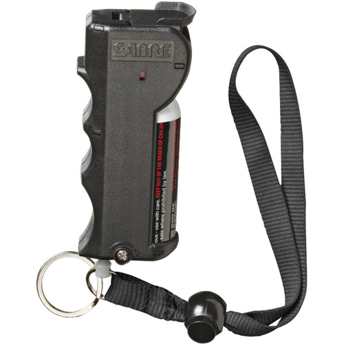 SABRE Red Pepper Spray, Police Strength, with Stop Strap, Black Case, Finger Grip, 20 Bursts & 10' (3m) Range by Sabre