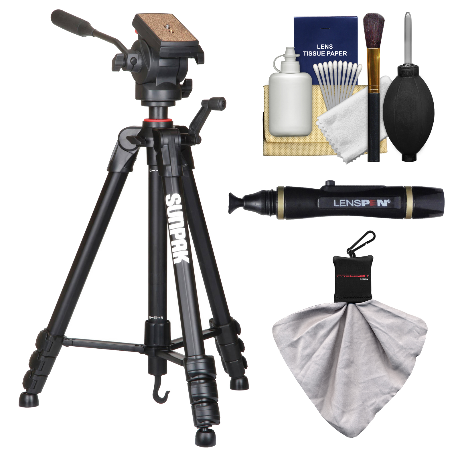 "Sunpak 65"" Pro M4 Heavy Duty Video Tripod with Fluid Head & Case with Lenspen + Cleaning Kit"