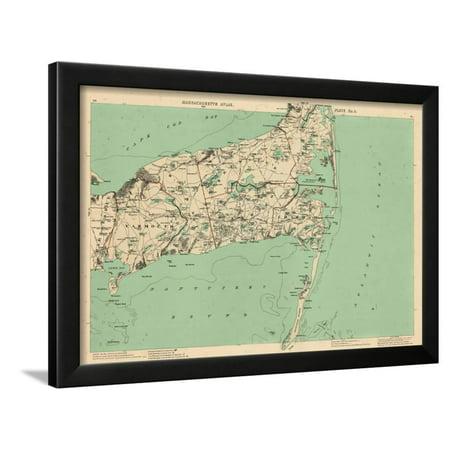 1891, Cape Cod, Barnstable, Orleans, Brewster, Harwich, Chatham, Dennis, Yarmouth, Massachusetts Framed Print Wall Art