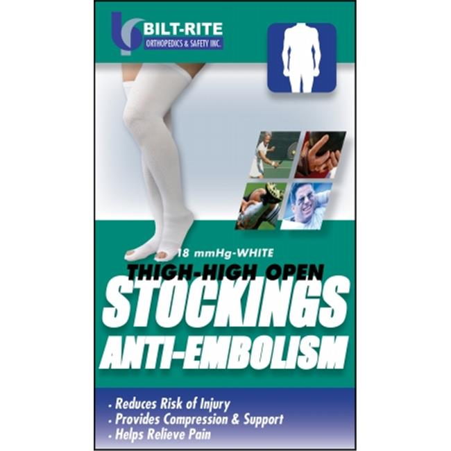 Bilt-Rite Mastex Health 10-73100-SM Anti-Embolism Stockings Thigh High Closed, White - Small