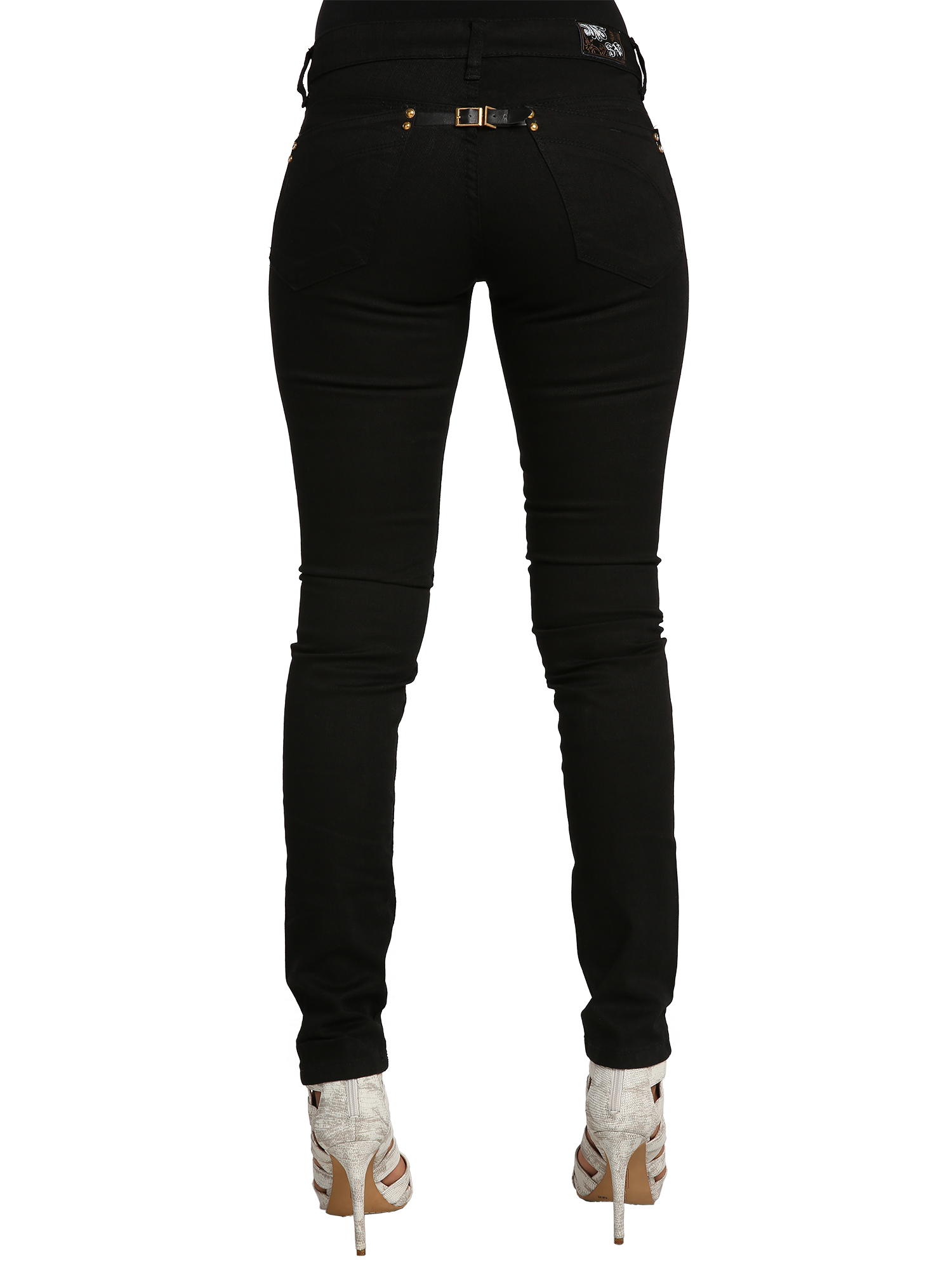 b4c0295a04 Sweet Vibes Junior Women Jeans Black Stretch Denim Straight Fit With Back  Buckle