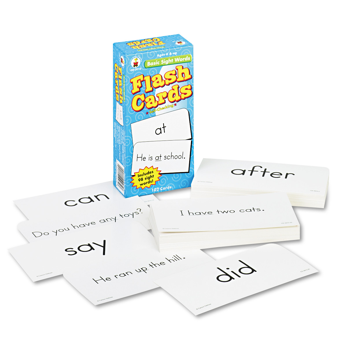 Carson-Dellosa Publishing Flash Cards, Basic Sight Words, 3w x 6h, 102/Pack -CDPCD3910