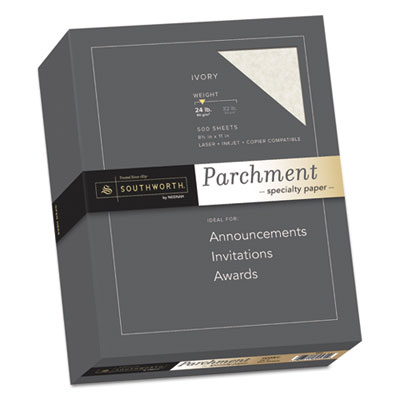 Parchment Specialty Paper, Ivory, 24lb, 8 1/2 x 11, 500 Sheets, Sold as 1 Box