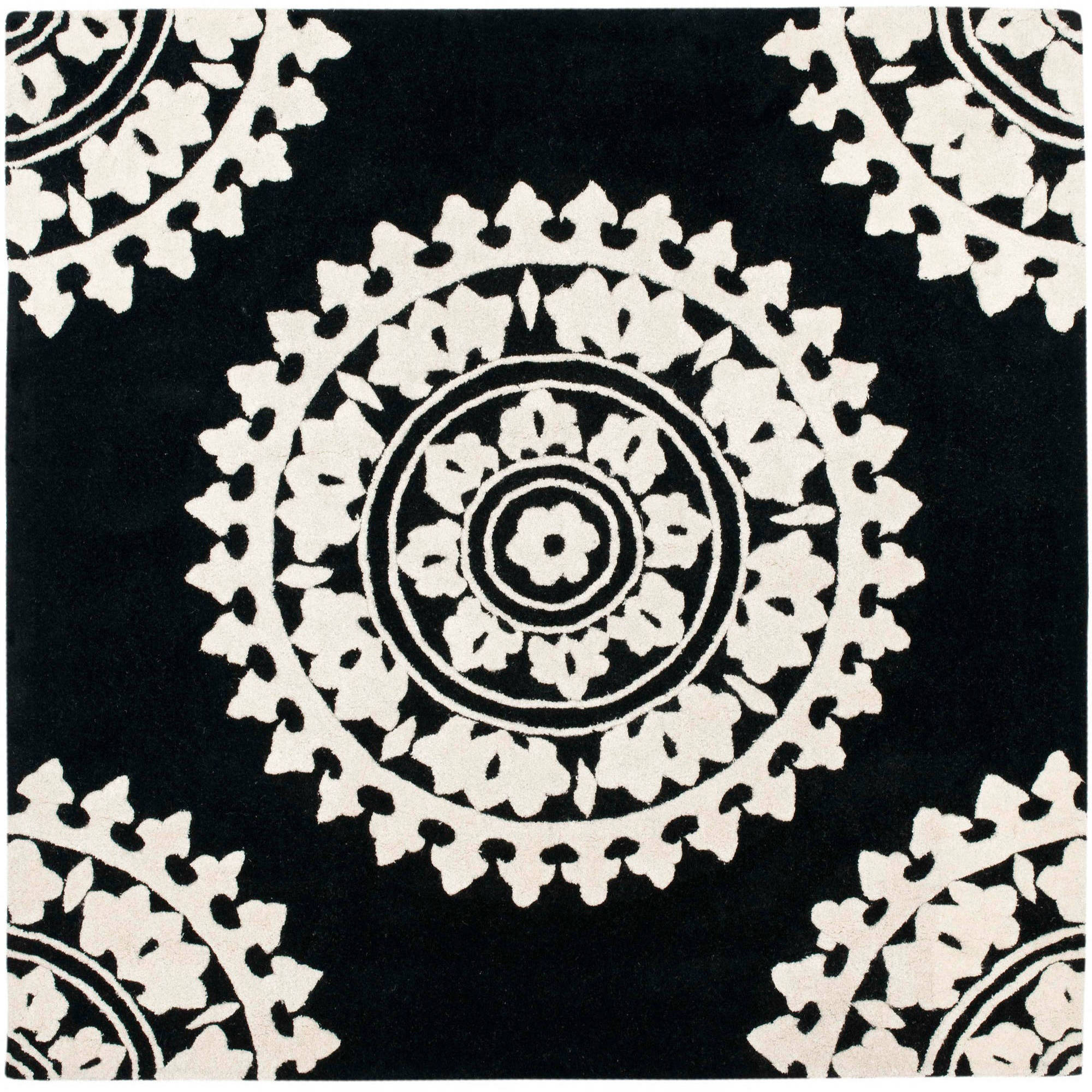 Safavieh Soho Aubrey Wool Square Rug, Black/Ivory, 6' x 6'