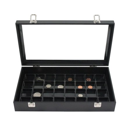 14 Inch Glass Top Jewelry Display Box and 18 Compartment Liner Tray Case Set Glass Jewelry Display Cases