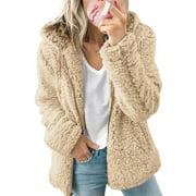 Women Winter Fluffy Wool Hooded Long Sleeve Jacket Coat Ladies Teddy Bear Fleece Fur Warm Zipper Outerwear Hoodies Sweatshirt Jumper Tops Shirt Sweater Size 4-18