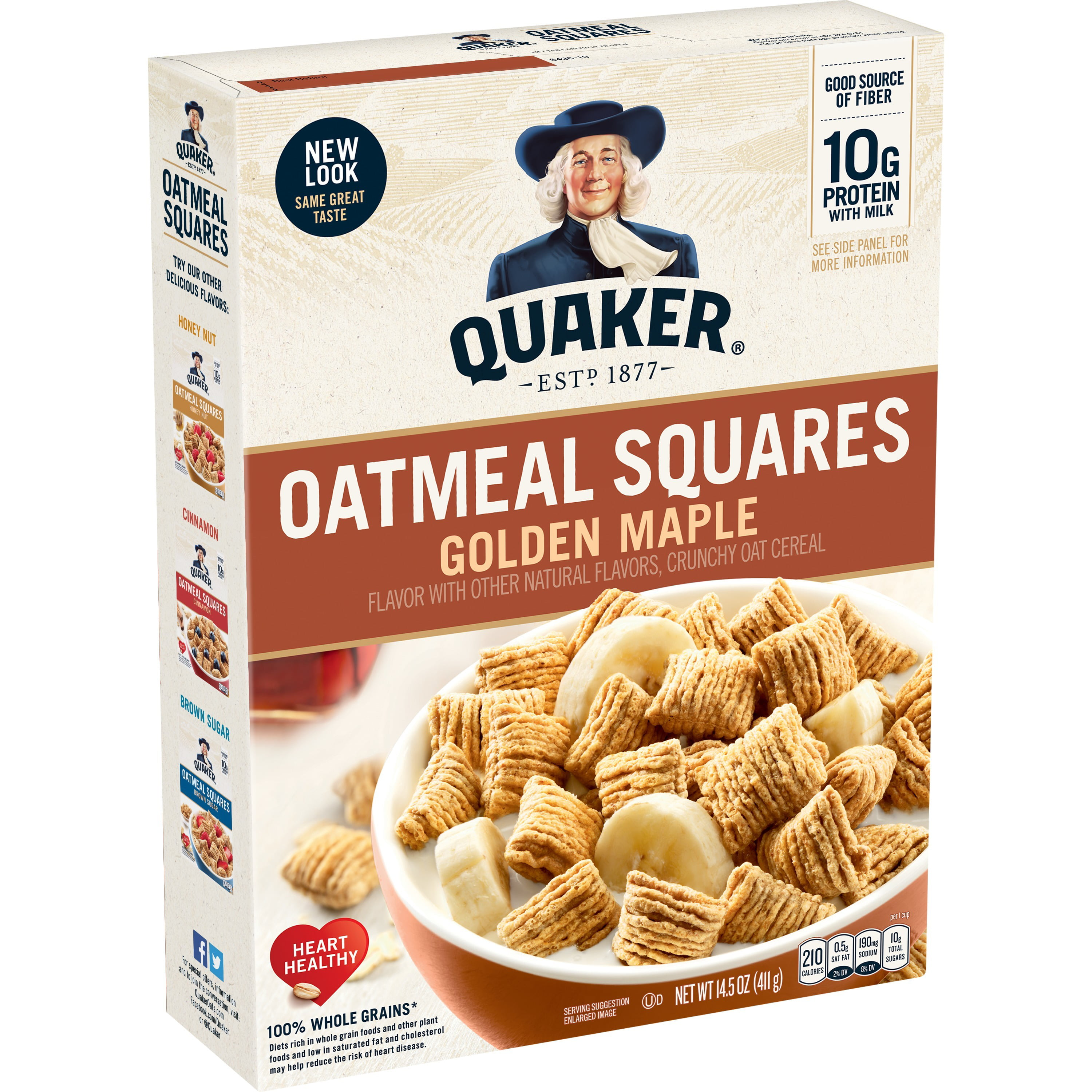 Quaker Oatmeal Squares Golden Maple Crunchy Oat Cereal 14