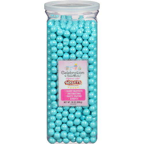 Celebration by SweetWorks Sixlets Chocolate Flavored Shimmer Powder Blue Candy, 30 oz by SWEETWORKS