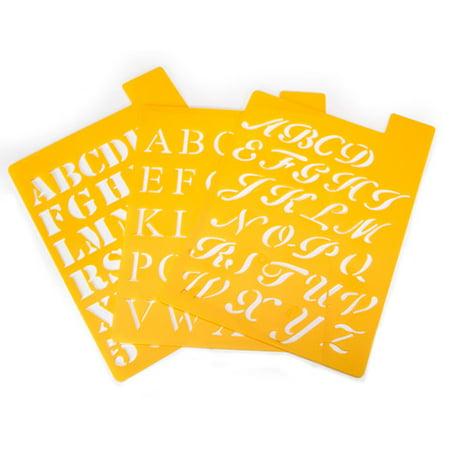 Darice Small Alphabet Stencils. 3 Assorted Styles (Stencil D'halloween)