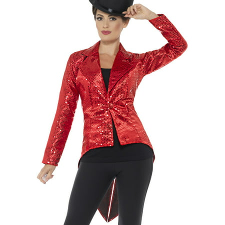 Adult's Womens Red Sequin Magician Showrunner Tailcoat Jacket Costume - Red Costumes For Women